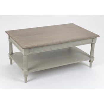 Table basse rectangulaire cérusée grise Louis XVI 100 cm EDOUARD L 100 x P 60 x  H 45 AMADEUS