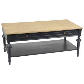 Table basse rectangulaire salon bois noir1 tiroir NEW LEGENDE L120xP60xH50 AMADEUS