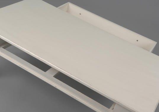 Table basse romantique 110 cm bois blanc vieilli 1 tiroir LEONIE L 110 x P 60 x  H 45 AMADEUS