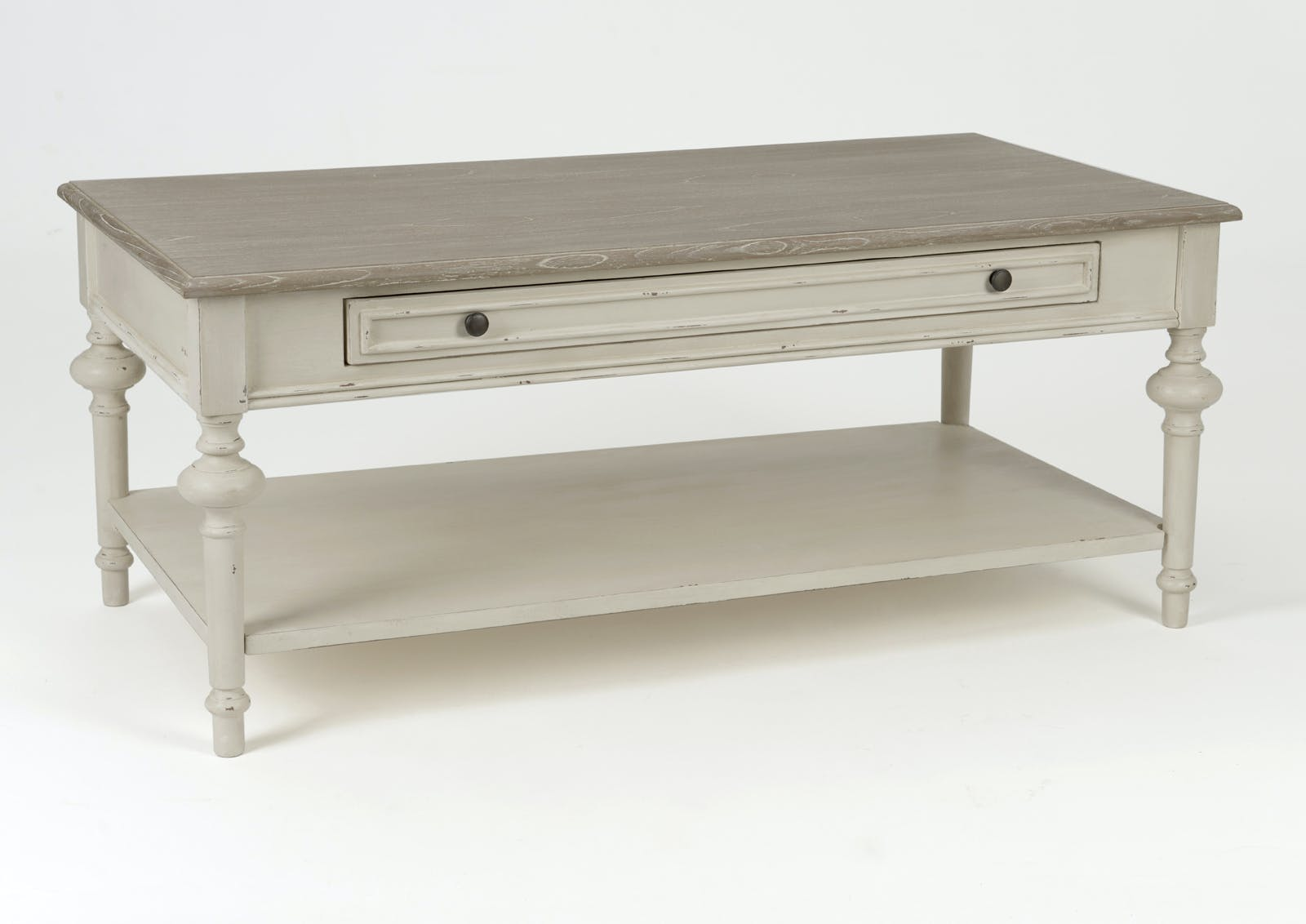 Table basse salon bois blanc vieilli 1 tiroir LEGENDE L120xP60xH50 AMADEUS