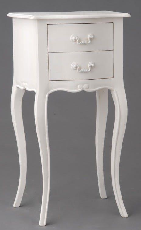 Table de chevet 2 tiroirs en Acajou blanc romantique APOLLINE L 40 x P 30 x H 75 AMADEUS