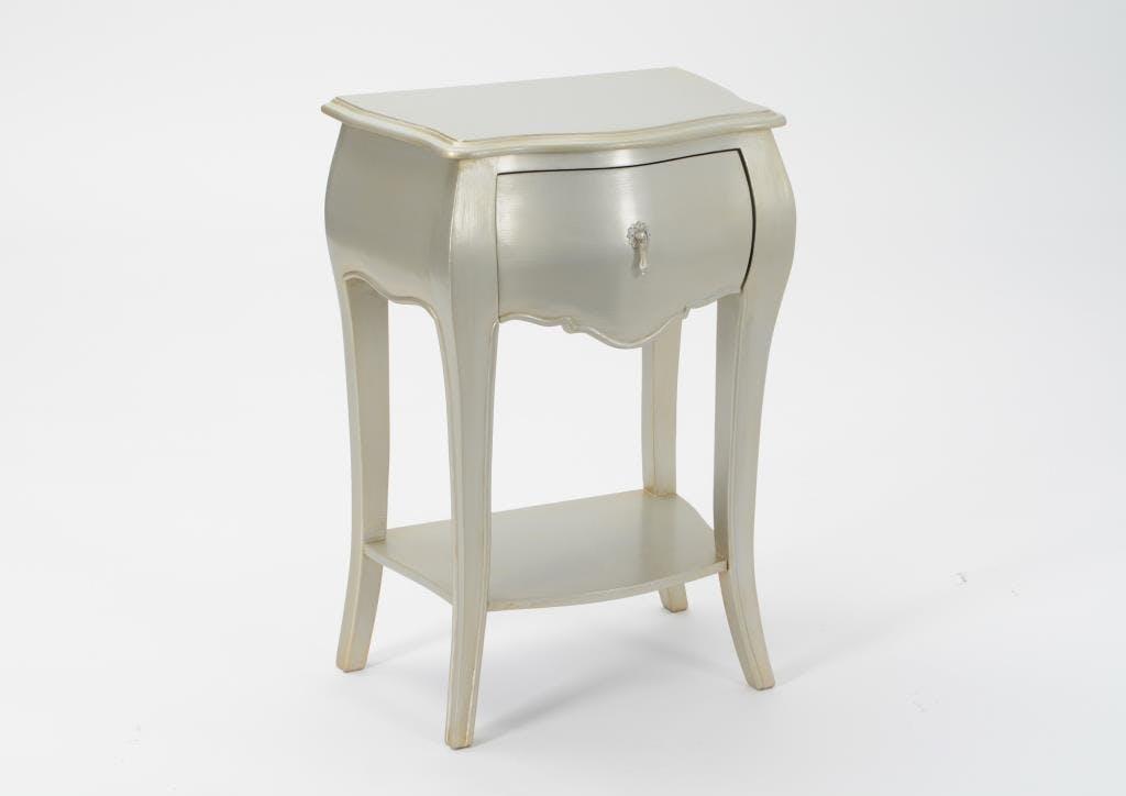 Table de chevet argent antique baroque 1 tiroir en bois MURANO L 45 x P 30 x  H 65 AMADEUS