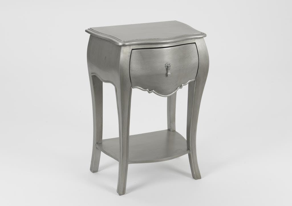 Table de chevet baroque argentée 1 tiroir en bois MURANO L 45 x P 30 x  H 65 AMADEUS