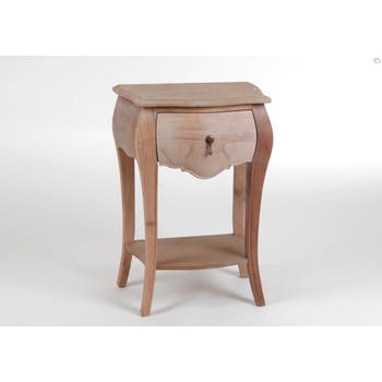 Table de chevet baroque bois brut 1 tiroir en bois MURANO L 45 x P 30 x  H 65 AMADEUS