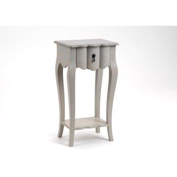 Table de chevet baroque en bois gris 1 tiroir GRAND SIECLE L40xP30xH75 AMADEUS