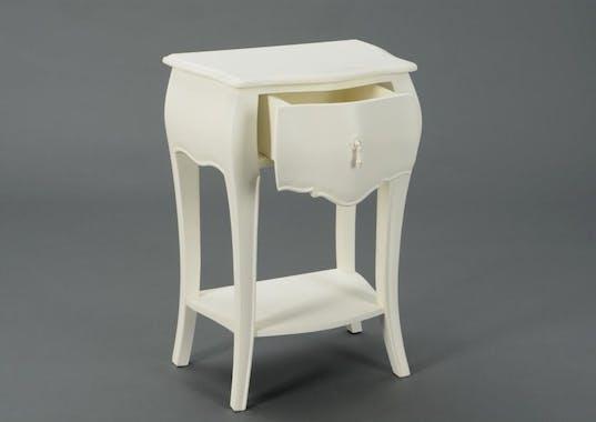 Table de chevet crème antique romantique 1 tiroir MURANO  L45xP30xH65 AMADEUS