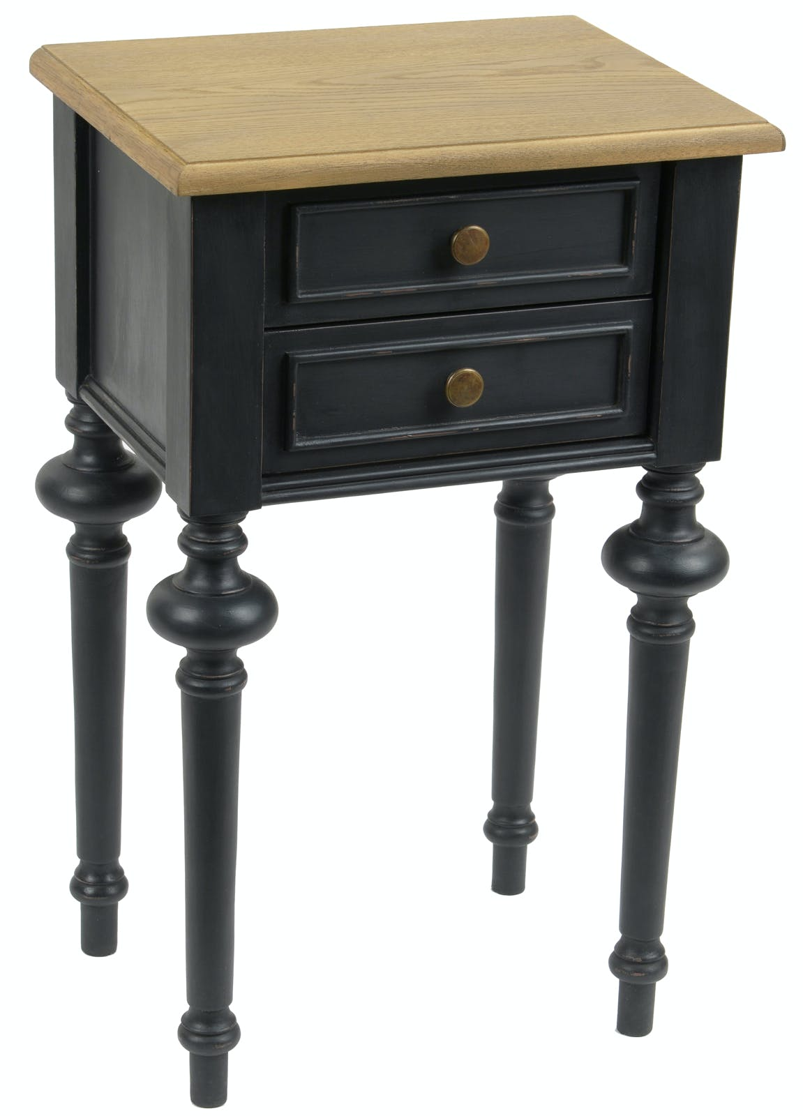 Table de chevet Louis XVI 2 tiroirs en bois bicolore noir NEW LEGENDE L40xP30xH65 AMADEUS