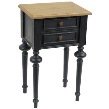 Table de chevet Louis XVI 2 tiroirs en bois bicolore noir NEW LEGENDE L40xP30xH65 AMADEUS