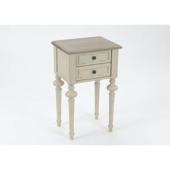 Table de chevet Louis XVI en bois bicolore 2 tiroirs LEGENDE L40xP30xH65 AMADEUS