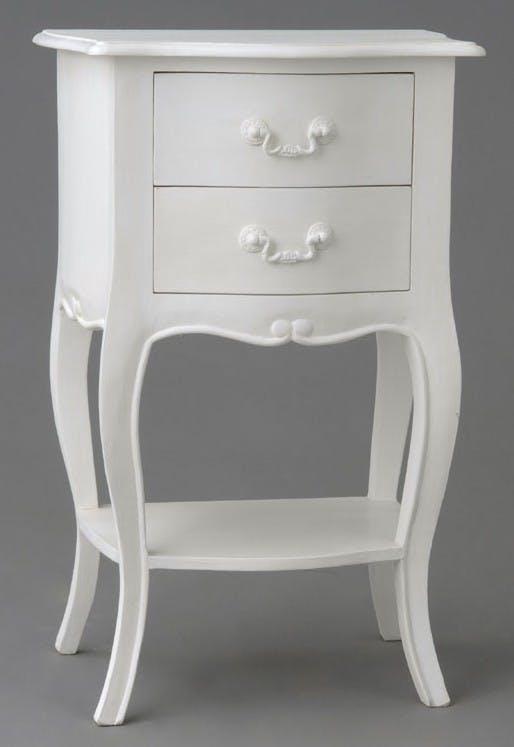Table de chevet romantique 2 tiroirs en Acajou blanc APOLLINE L 40 x P 30 x H 65 AMADEUS