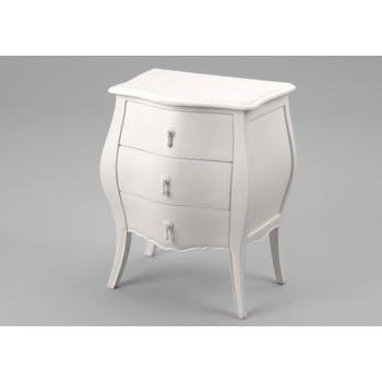 Table de chevet romantique Acajou crème antique 3 tiroirs MURANO L50xP35xH65 AMADEUS