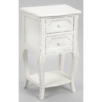 Table de chevet shabby  bois blanc vieilli 2 tiroirs COMTESSE L 40 x P 30 x  H 65 AMADEUS
