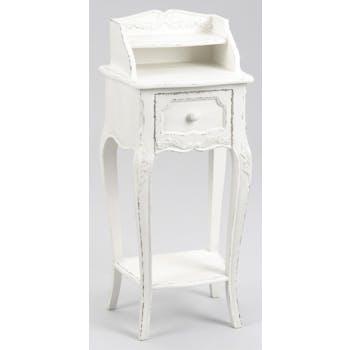 Table de chevet shabby bois blanc vieilli 1 tiroir COMTESSE L 40 x P 30 x  H 90 AMADEUS