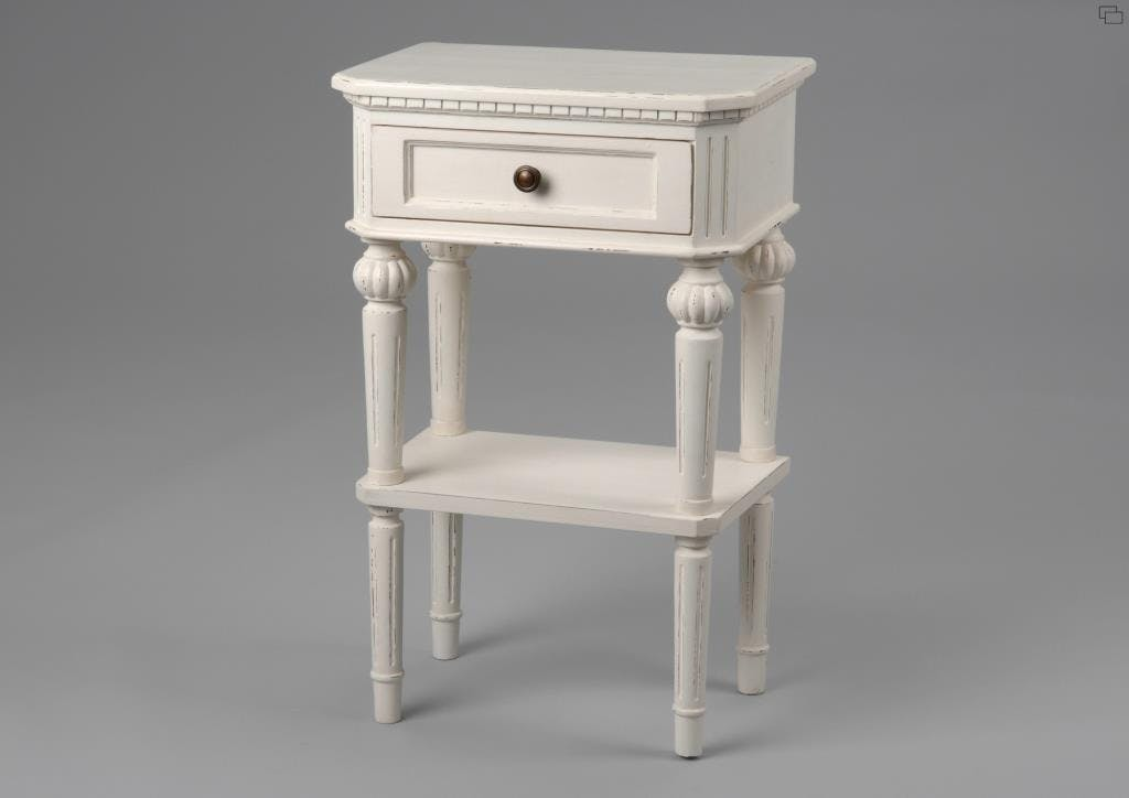 Table de chevet shabby bois blanc vieilli 1 tiroir LEONIE L 45 x P 30 x  H 70 AMADEUS