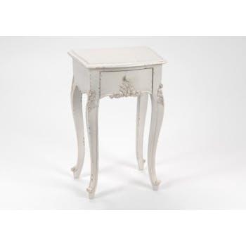 Table de chevet shabby bois blanc vieilli 1 tiroir LOUISE L 40 x P 30 x  H 65 AMADEUS