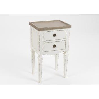 Table de nuit ancienne bois blanc 2 tiroirs GUSTAVE L 40 x P 30 x  H 65 AMADEUS