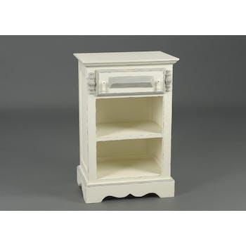 Table de nuit ancienne bois blanc vieilli 1 tiroir ORNEMENT L 50 x P 35 x  H 75 AMADEUS