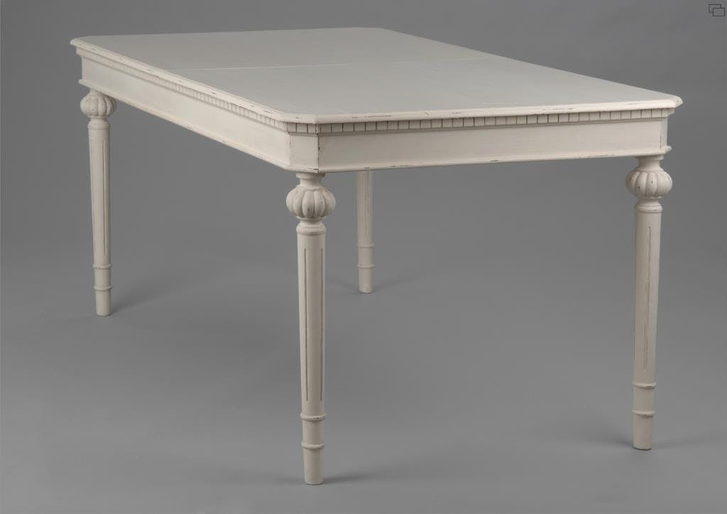 Table de repas extensible 160/200 cm bois vieilli blanc LEONIE L 200 x P 90 x  H 75 AMADEUS