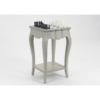 Table échiquier baroque bois gris 1 tiroir GRAND SIECLE L45xP45xH75 AMADEUS