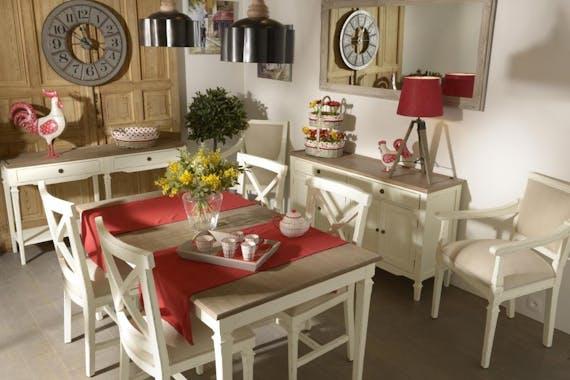 Table rectangulaire extensible 160/200 cm bois vielli blanc GUSTAVE  L 160 x P 90 x  H 75 AMADEUS