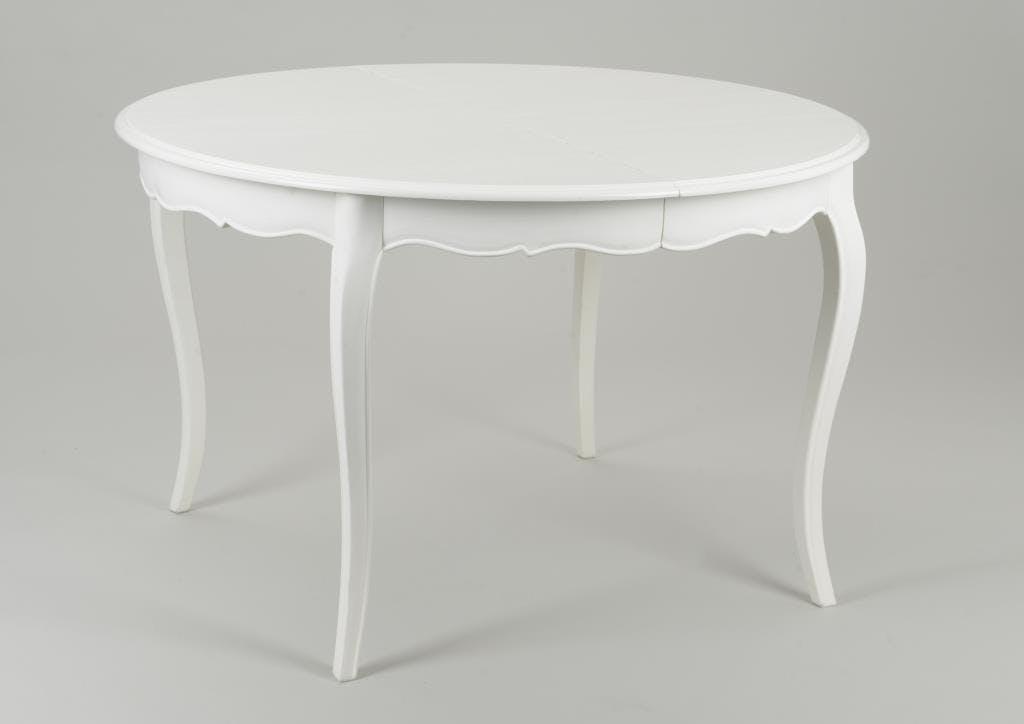 Table ronde extensible 120/160 cm Acajou crème antique romantique MURANO L 160 x P 120 x H 75 AMADEUS