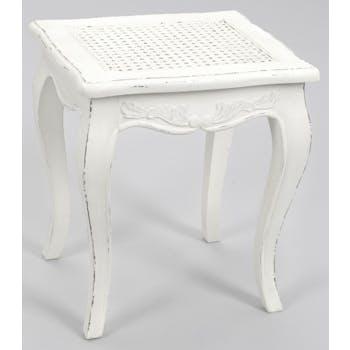 Tabouret chambre canné shabby bois blanc vieilli et tissu COMTESSE L 40 x P 35 x  H 45 AMADEUS