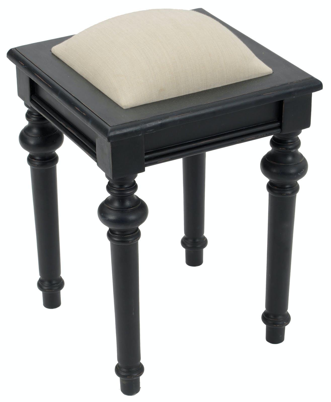 Tabouret de coiffeuse baroque en bois noir et tissu beige NEW LEGENDE L34xP34xH45 AMADEUS