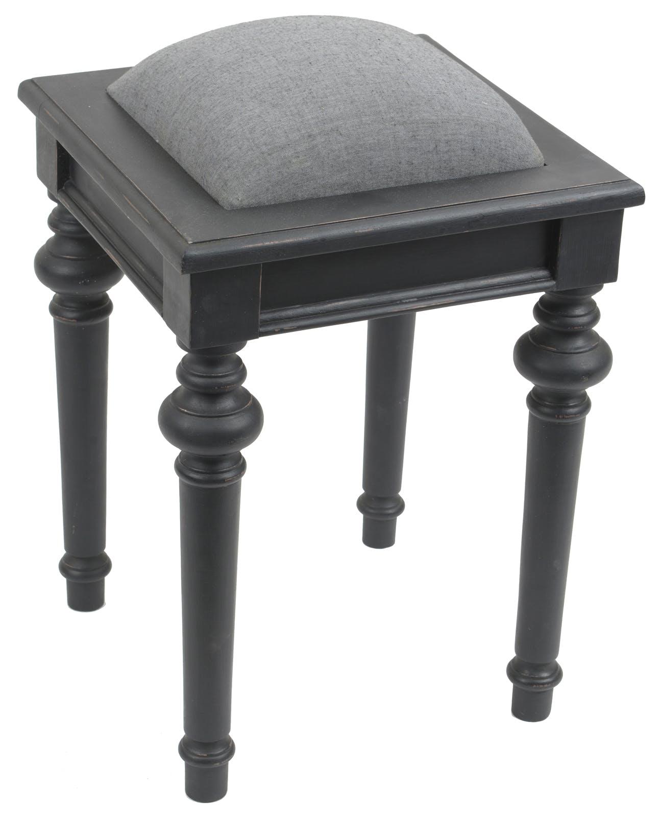 Tabouret de coiffeuse baroque en bois noir et tissu gris NEW LEGENDE L34xP34xH45 AMADEUS