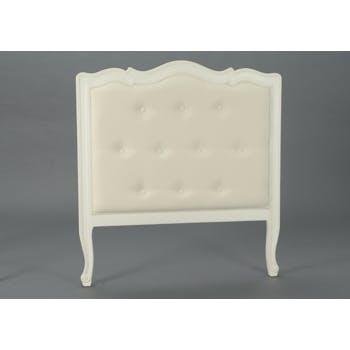 Tête de lit 1 place matelassée crème antique baroque romantique en Acajou MURANO L104 x H112 AMADEUS