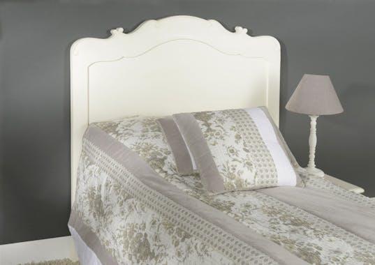 Tête de lit 1 place en acajou blanc, collection romantique APOLLINE - AMADEUS