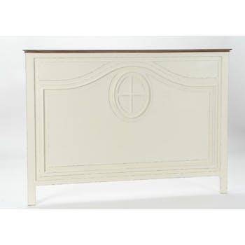 Tête de lit ancienne 160 cm bois blanc vieilli GUSTAVE L170 x H120 AMADEUS