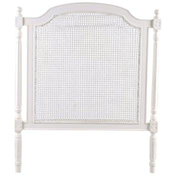 Tête de lit cannée 100cm en bois blanc classique chic HELENA  L100 x  H120 AMADEUS