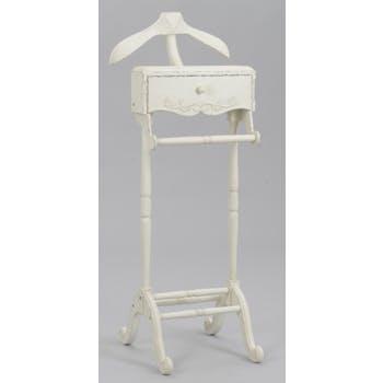 Valet de nuit shabby romantique bois blanc  vieilli 1 tiroir COMTESSE L 50 x P 50 x  H 130 AMADEUS