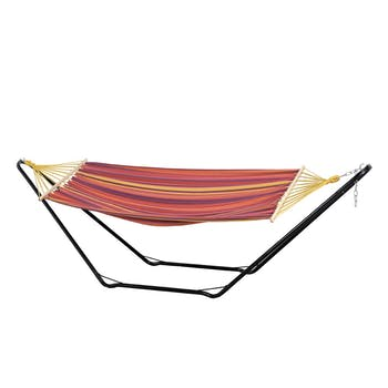 Hamac avec support acier 2 places BEACH SET Rouge 200x100cm AMAZONAS