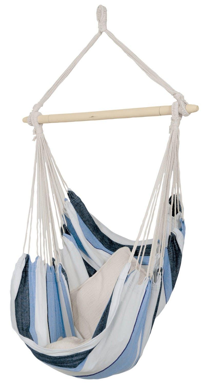 Hamac chaise suspendu HAVANA Marine Bleu blanc 150x120cm AMAZONAS
