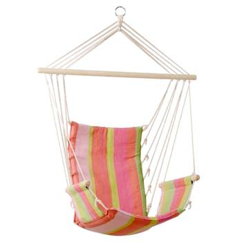 Hamac chaise suspendu PALAU Bubblegum Rose vert 120x50cm AMAZONAS