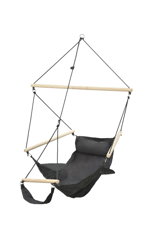 Hamac chaise suspendu avec repose pied SWINGER Noir 106x78cm AMAZONAS