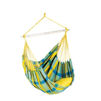 Hamac chaise suspendu BRASIL Lemon Jaune bleu 160x130cm AMAZONAS