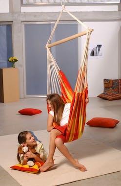 Hamac chaise suspendu BRASIL Papaya Orange jaune 160x130cm AMAZONAS
