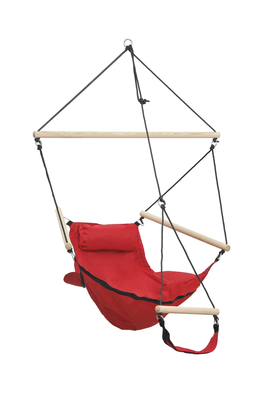 Hamac chaise suspendu avec repose pied SWINGER Rouge 106x78cm AMAZONAS