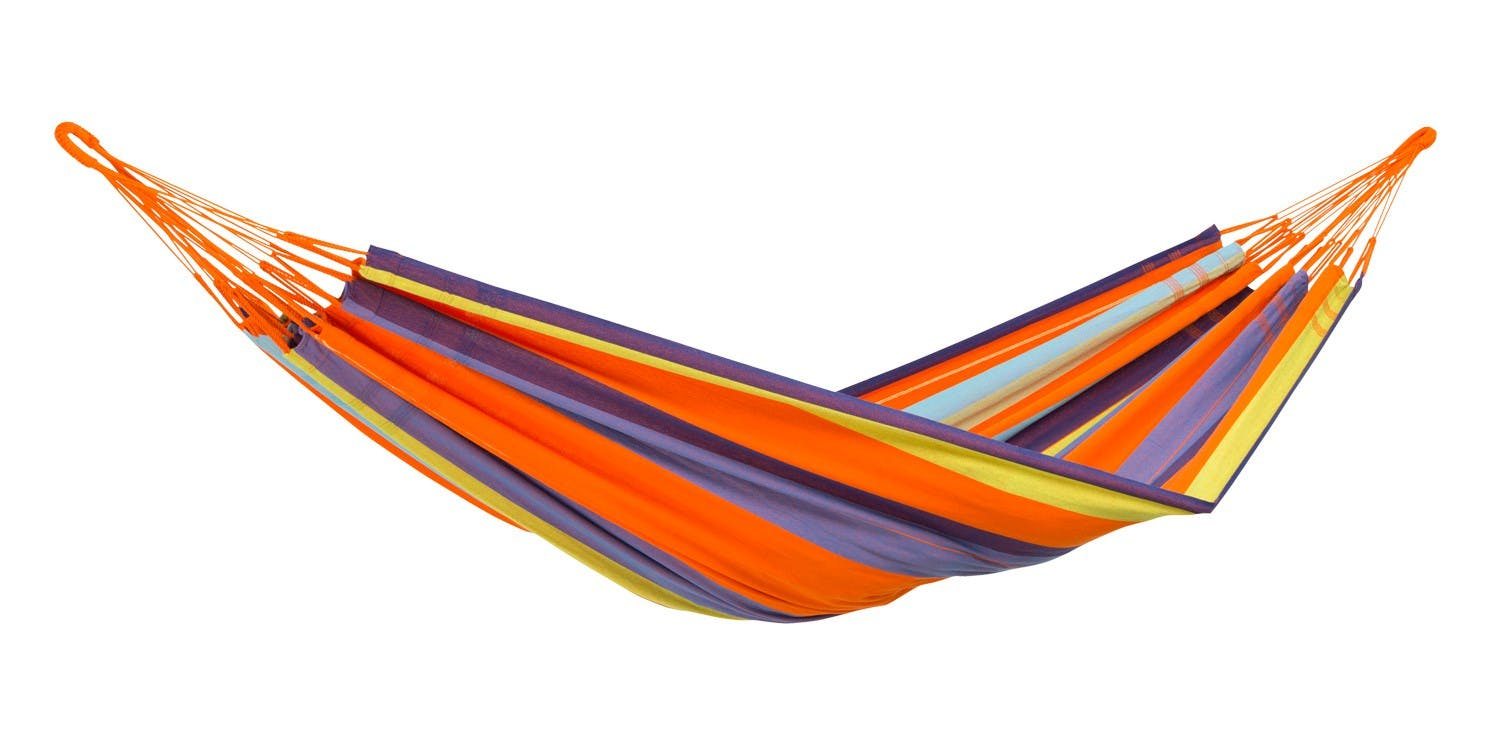 Hamac de jardin 2 places COLOMBIANA Mandarina Orange bleu 240x160cm AMAZONAS