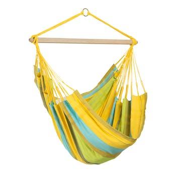 Hamac chaise suspendu BOGOTA Lemon Jaune bleu 180x130cm AMAZONAS