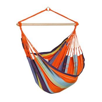 Hamac chaise suspendu BOGOTA Mandarina Orange bleu 180x130cm AMAZONAS