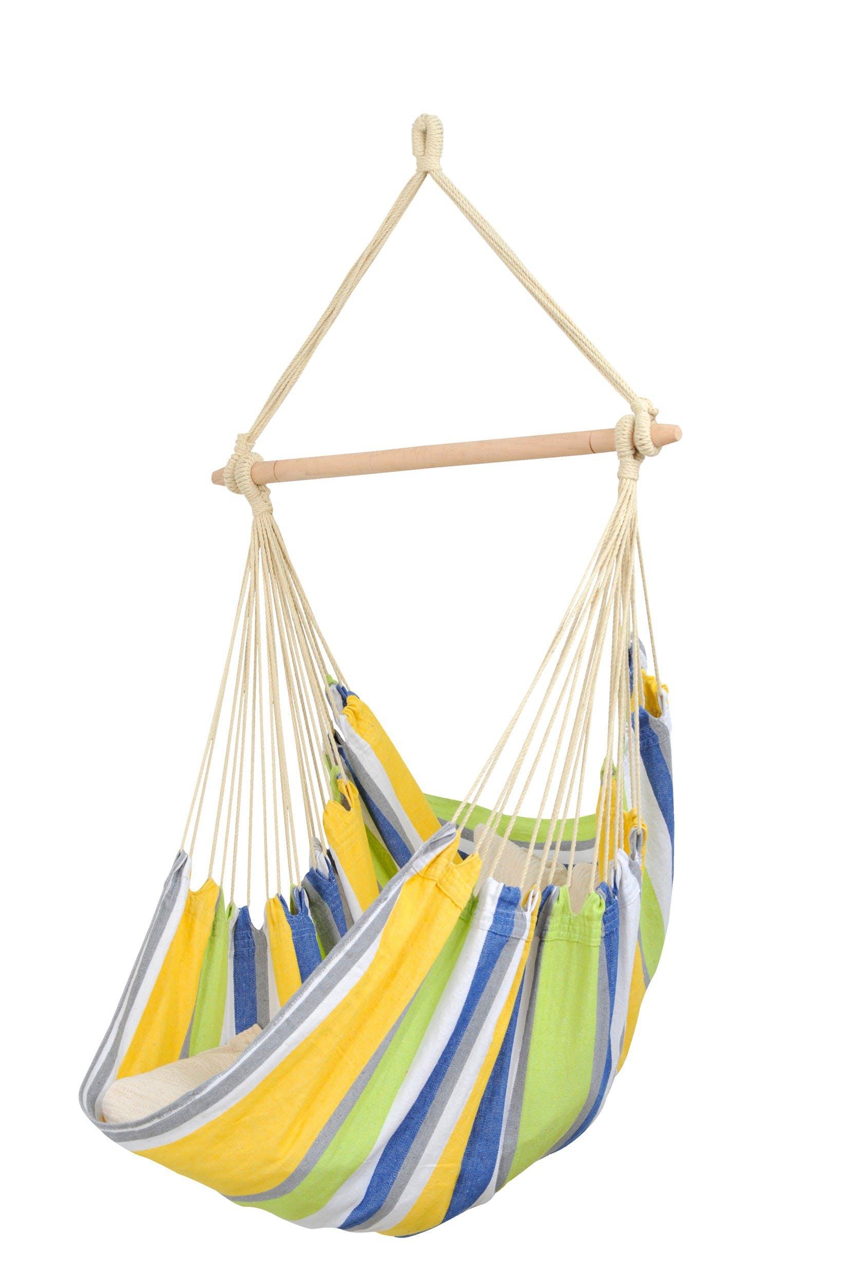 Hamac chaise suspendu RELAX Kolibri Vert bleu 130x100cm AMAZONAS