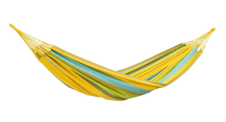 Hamac de jardin 2 places COLOMBIANA Lemon Jaune bleu 240x160cm AMAZONAS