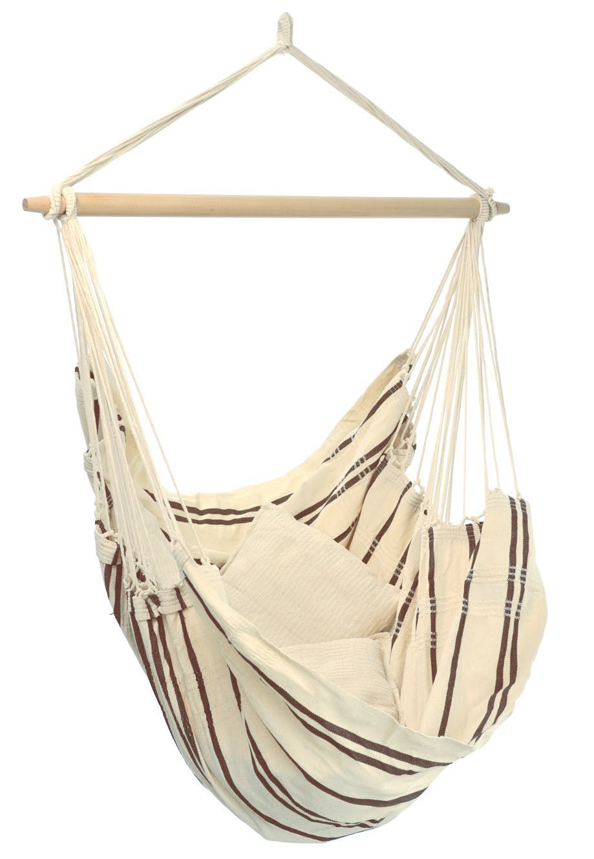 Hamac chaise suspendu BRASIL Capuccino Blanc marron 160x130cm AMAZONAS