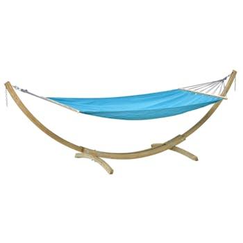Ensemble Hamac de jardin + Support en bois Miami Set Aqua bleu XL AMAZONAS