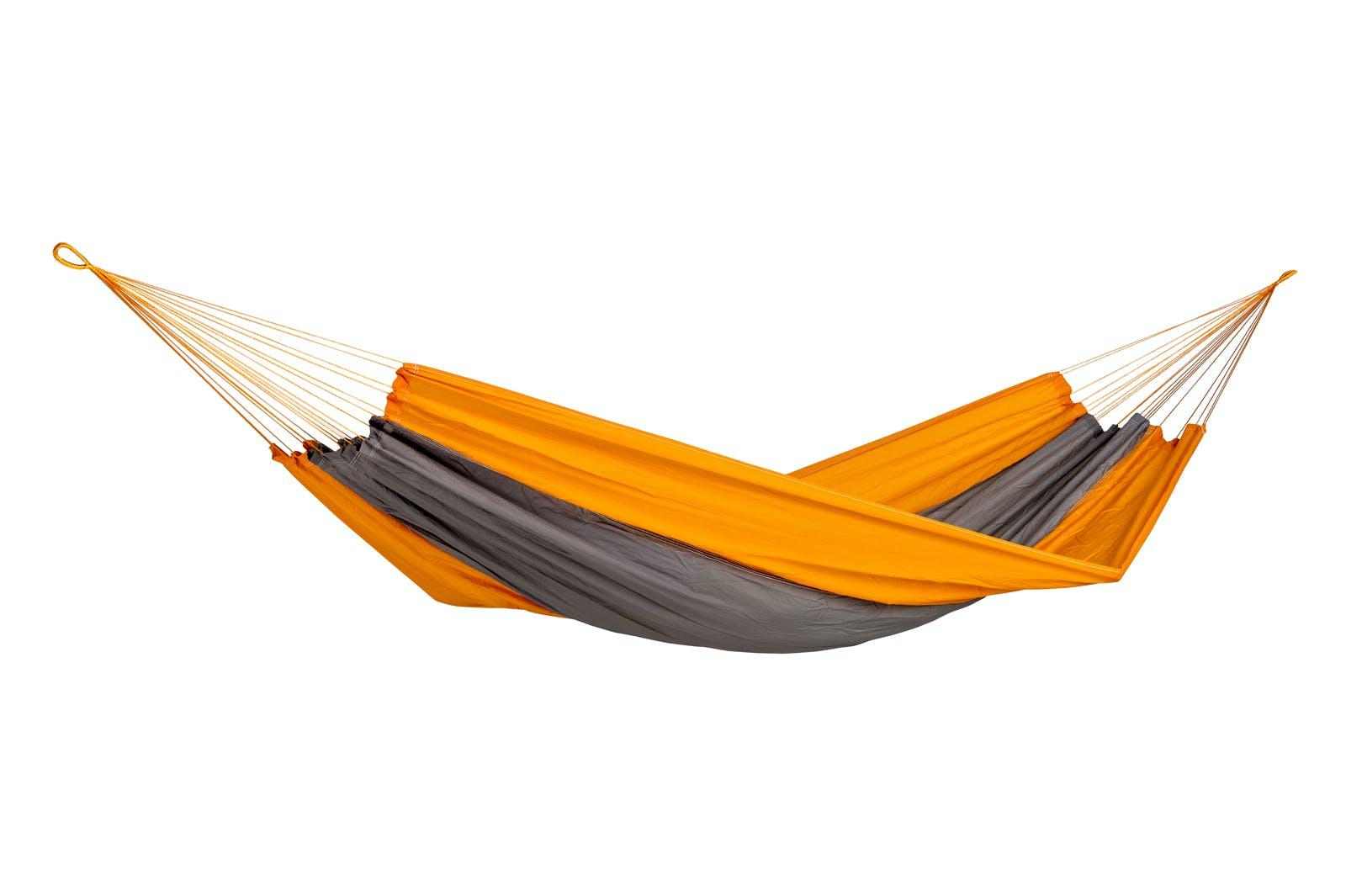Hamac de jardin / voyage / randonnée en soie de parachute Silk Traveller Techno Orange Grey XL AMAZONAS