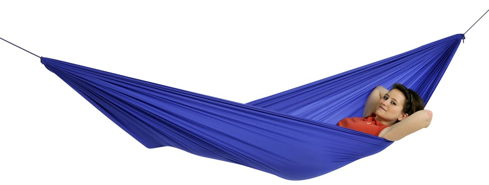Hamac de jardin / voyage / randonnée ultra léger, avec crochets Travel Set Blue L AMAZONAS