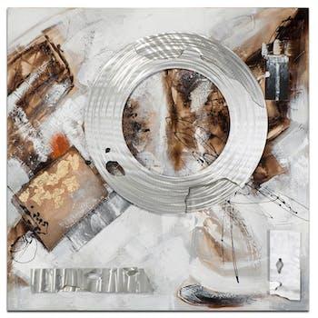 ABSTRAIT Toile carrée Marron métal Acrylique 70x70